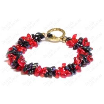 Bracelet fleur rouge & noir