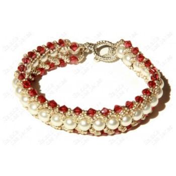 Bracelet chic rouge & blanc