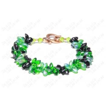 Bracelet fleur vert & noir