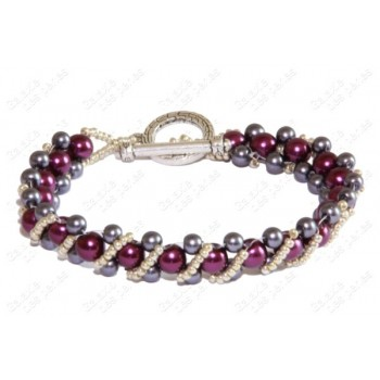 Bracelet berlingot violet & gris