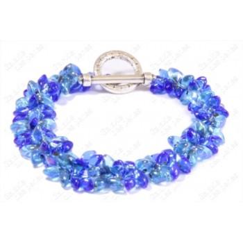 Bracelet fleur bleu ciel & marine